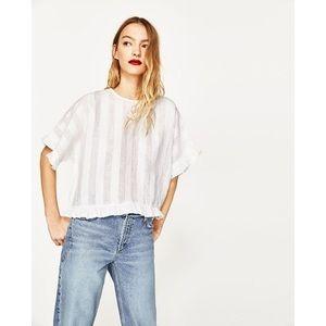 Zara Ruffle Linen Blouse